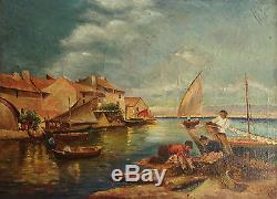 Ancien Tableau / Huile sur toile signée H. HULUG paysage Basque Marine Pêche
