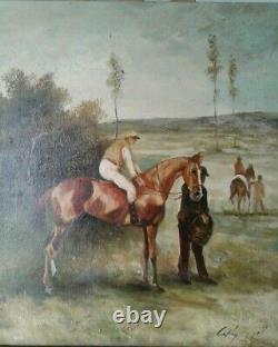 Ancien Tableau Huile/toile cheval et son jockey École Anglaise. Signé COLLIN