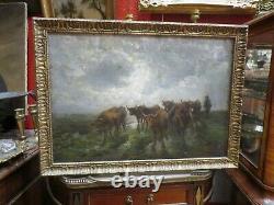 Ancien Tableau Huile / toile scene pastorale XIXE troupeau de vaches paysage