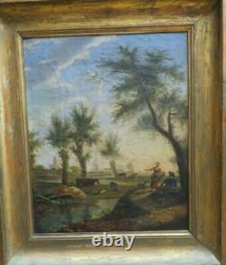 Ancien Tableau Huile / toile scene pastorale fin XVIIIe romantique vache paysage