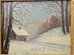 Ancien Tableau Impressionniste Paysage Effet de neige Huile sur carton signée