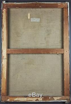 Ancien Tableau Intérieur d'Eglise Peinture Huile Antique Oil Painting