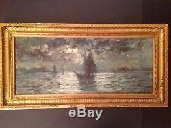 Ancien Tableau JACOBS Impressionniste Marine Bateau Clair de lune Huile Signée