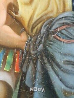 Ancien Tableau Jésus Condamné à Mort Peinture Huile Toile Antique Oil Painting