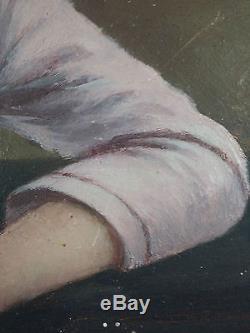 Ancien Tableau Jeune Femme Peinture Huile Antique Oil Painting