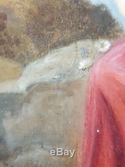 Ancien Tableau Jeune Femme à la Fleur Peinture Huile Antique Painting Dipinto