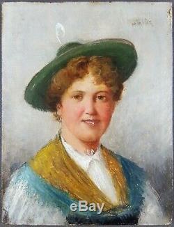 Ancien Tableau Jeune Femme au Chapeau Peinture Huile Antique Painting Dipinto