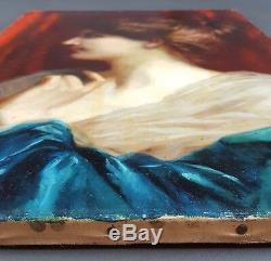 Ancien Tableau Jeune Femme de Profil Peinture Huile Antique Painting Dipinto