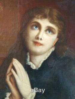 Ancien Tableau Jeune Femme en Prière Peinture Huile Toile Antique Oil Painting