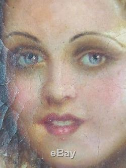 Ancien Tableau Jeune Femme en Robe Peinture Huile Antique Oil Painting