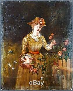 Ancien Tableau Jeune Fille à La Rose Peinture Huile Antique Oil Painting