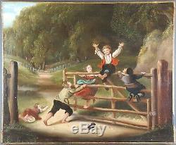Ancien Tableau Jeux d'Enfants Peinture Huile Toile Antique Painting Dipinto