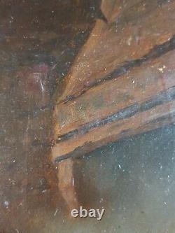 Ancien Tableau Joueur de Violon Peinture Antique Oil Painting Altes Ölgemälde