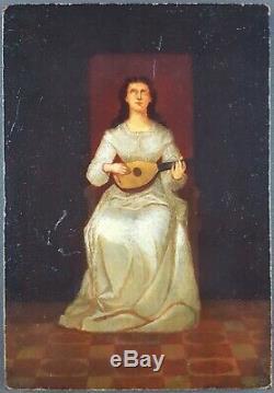 Ancien Tableau Joueuse de Mandoline Peinture Huile Antique Oil Painting