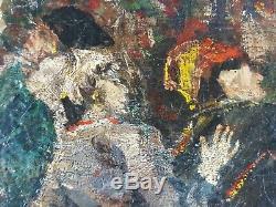 Ancien Tableau L'incendie Peinture Huile Antique Oil Painting Malerei Dipinto