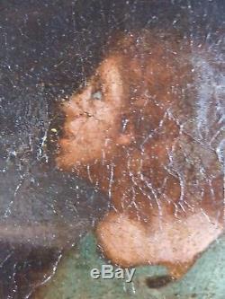 Ancien Tableau La Déposition de Croix Peinture Huile Toile Antique Painting