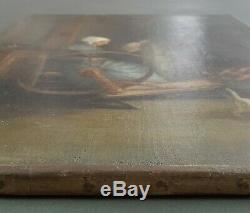 Ancien Tableau La Fileuse Peinture Huile Toile Antique Oil Painting Ölgemälde