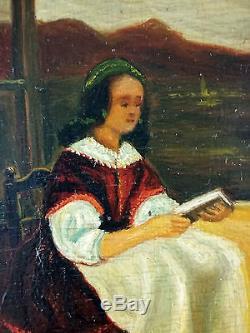 Ancien Tableau La Lecture Peinture Huile Antique Oil Painting