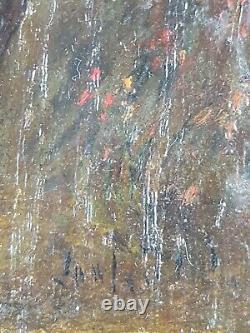 Ancien Tableau La Promenade des Lévriers Peinture Huile Antique Old Painting