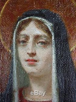 Ancien Tableau La Vierge Marie Peinture Huile Antique Oil Painting