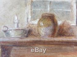 Ancien Tableau Le Bain Peinture Huile Antique Oil Painting