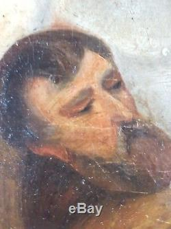 Ancien Tableau Le Christ Porté au Tombeau Peinture Huile Antique Oil Painting