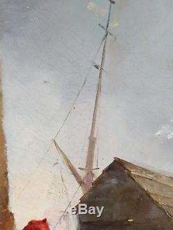 Ancien Tableau Le Jeune Pêcheur Peinture Huile Antique Oil Painting