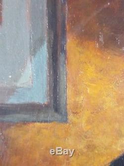 Ancien Tableau Le Miroir Peinture Huile Antique Oil Painting