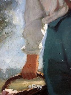 Ancien Tableau Le Pique-Nique Peinture Huile Antique Oil Painting