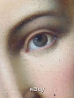 Ancien Tableau Le Sacré-Coeur de Jésus Peinture Huile Antique Oil Painting