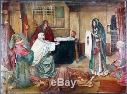 Ancien Tableau Le Saint Suaire Peinture Huile Antique Oil Painting