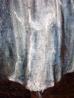 Ancien Tableau Les Oisillons Peinture Huile Antique Oil Painting