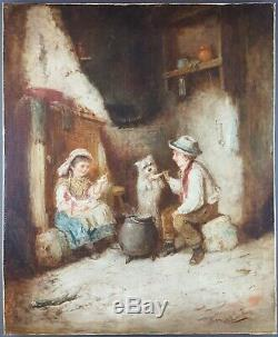 Ancien Tableau Mark Langlois (1848-1924) Peinture Huile Antique Oil Painting