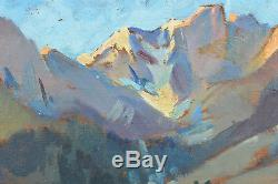 Ancien Tableau Montagne Pêcheur sur le Lac de Gaube Pyrénées Rando F. Mangelatte