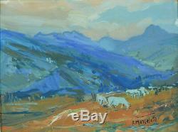 Ancien Tableau Montagne Pyrénées Troupeau Col D'Aspin Tourmalet F. Mengelatte