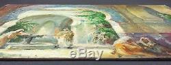 Ancien Tableau Mosquée Peinture Huile Antique Oil Painting