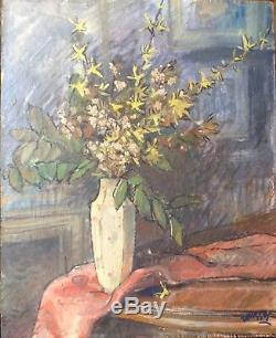 Ancien Tableau Nabi Bouquet de Forsythia Huile signée manière Felix VALLOTTON