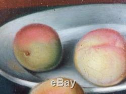 Ancien Tableau Nature Morte aux Fruits Peinture Huile Antique Oil Painting