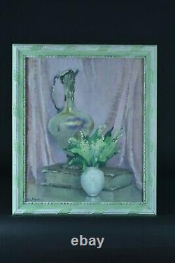 Ancien Tableau Nature morte bouquet de fleurs aiguière livre muguet SEGUELA