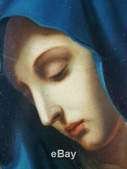 Ancien Tableau Notre-Dame des Douleurs Peinture Huile Antique Painting Dipinto