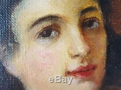 Ancien Tableau Nu Allongé Peinture Huile Antique Oil Painting