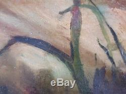 Ancien Tableau Nu Couché Peinture Huile Antique Oil Painting