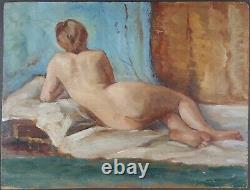 Ancien Tableau Nu Féminin Peinture Huile Antique Oil Painting Dipinto Gemälde