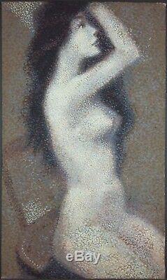 Ancien Tableau Nu assis Peinture Huile Antique Oil Painting Ölgemälde Dipinto