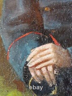 Ancien Tableau Officier Prussien Peinture Huile Antique Oil Painting Ölgemälde