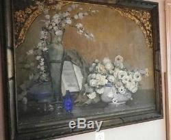 Ancien Tableau Orginal Toile Peinture Nature Morte Signe Maurice Decamps Huile