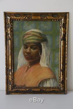 Ancien Tableau Orientaliste Portrait de Femme Algérie Signé Jacquemot 1926
