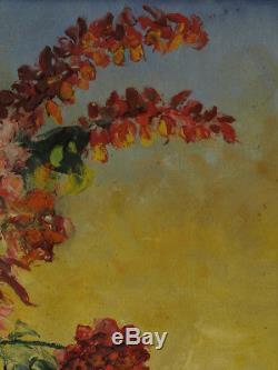 Ancien Tableau Orientaliste nature morte hst Roses Pivoines Maury Still Life Hst