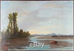 Ancien Tableau Paysage au Crépuscule Peinture Huile Toile Antique Oil Painting