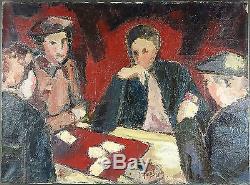 Ancien Tableau Peinture Dix de Der Huile sur Toile Antique Painting Oil